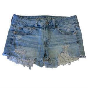 American Eagle Outfitters Stretch Destroyed Shorty